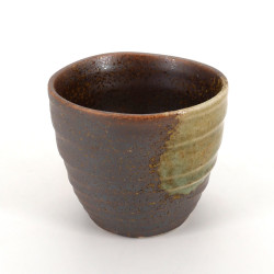 japanese brown and yellow teacup in ceramic KOSHI