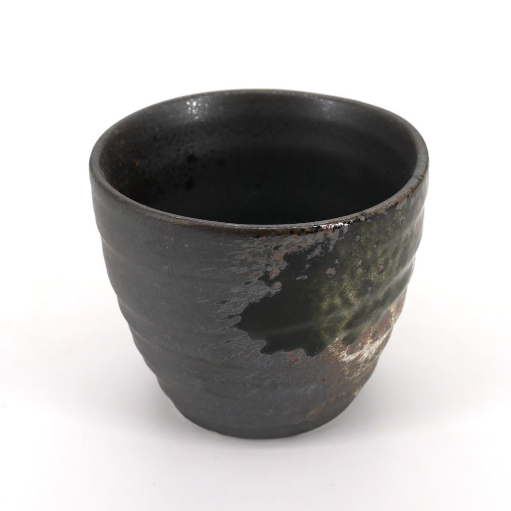 japanese black green and grey teacup in ceramic TETSUJIN