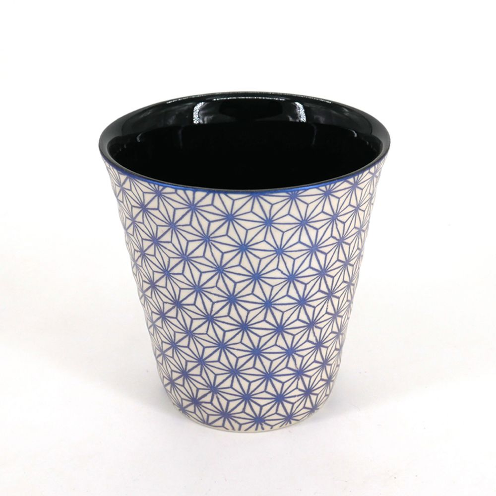 japanese beige and blue teacup in ceramic ASANOHA stars