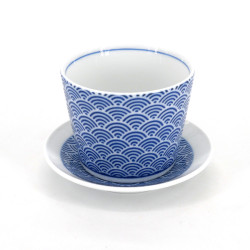 Japanese traditional soba cup with blue wave patterns in ceramic SEIGAIHA