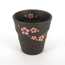 Japanese black teacup pink flowers SAKURA in ceramic