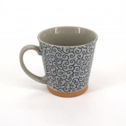 Japanese ceramic tea mug with handle KARAKUSA blue