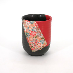 japanese red and black teacup in ceramic NURI flowers