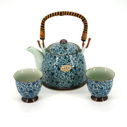 teapot and 2 teacups set with blue flower patterns white KOZOME TSURU KARAKUSA