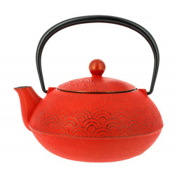 Japanese teapot cast iron, IWACHU NAMI 0,65lt, red