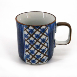 Japanese ceramic tea mug with handle NUNOME KOUSHI blue patterns