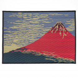 table set in Goza, Hokusai, red Fuji.