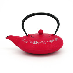 Japanese teapot cast iron, IWACHU WA SAKURA 0,55lt, pink and silver