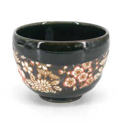 Japanese tea bowl for ceremony - chawan, SAKURA, flowers