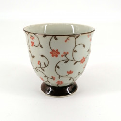 japanese teacup in ceramic SABI KARAKUSA red flowers patterns