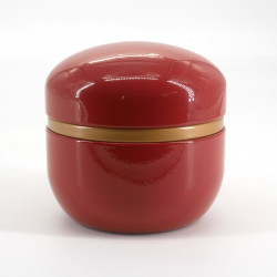 Japanese metal tea box, SUZUKO PAINT, red