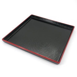 Square tray with adherent coating, DAIZU MOKUME BON, black