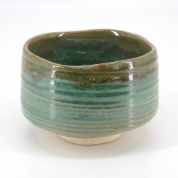 Japanese tea ceremony bowl - chawan, MIDORI, green and khaki