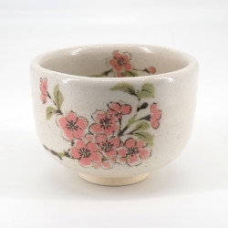Japanese tea ceremony bowl - chawan, SAKURA, white and cherry blossoms