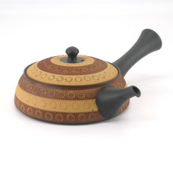 Japanese tokoname kyusu teapot, INAHANA, yellow and brown teapot