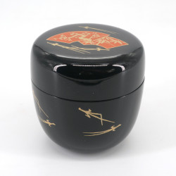 Japanese natsume tea box in black FAN bamboo resin, red fans