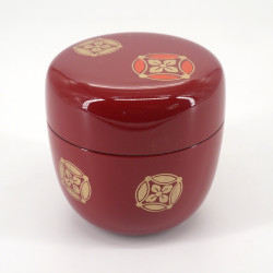 japanese natsume tea box in red SAKURA bamboo resin