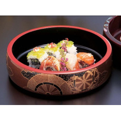 round black resin tray for sushi, GOSHOGURUMA, wheel