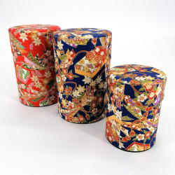 Blue or red Japanese tea caddy in washi paper, YUZEN NODO, 40 g or 100 g
