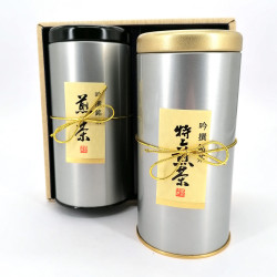 Japanese tea box duo, 100gr hojicha / 100gr genmaicha