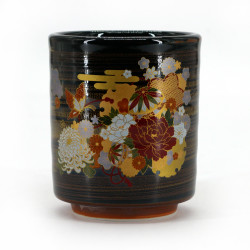 Japanese yunomi black ceramic tea cup with flower patterns - CHAKESSHO