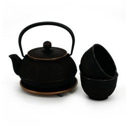 Japanese cast iron tea set, teapot, 2 cups and a coaster, IWACHU GINGKO, black and gold
