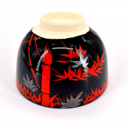 Japanese round cup with ceramic lid SEIRYU, black and blue
