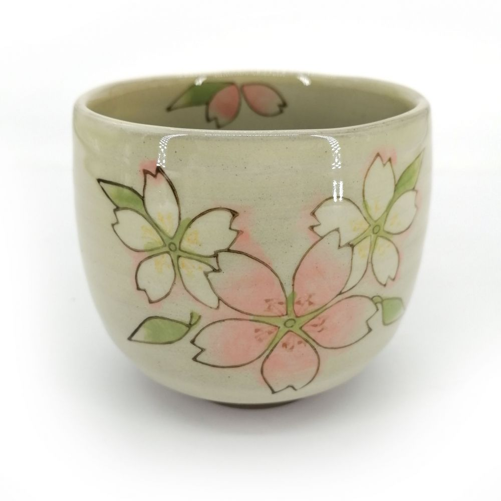 japanese teacup in terracotta flowers Ø10cm SAKURA