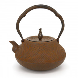Tetsubin Japanese Cast Iron Kettle, IWACHU HYÔTAN ARARE 1,3L, Brown