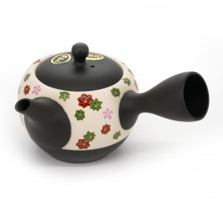 black and white japenese teapot momiji