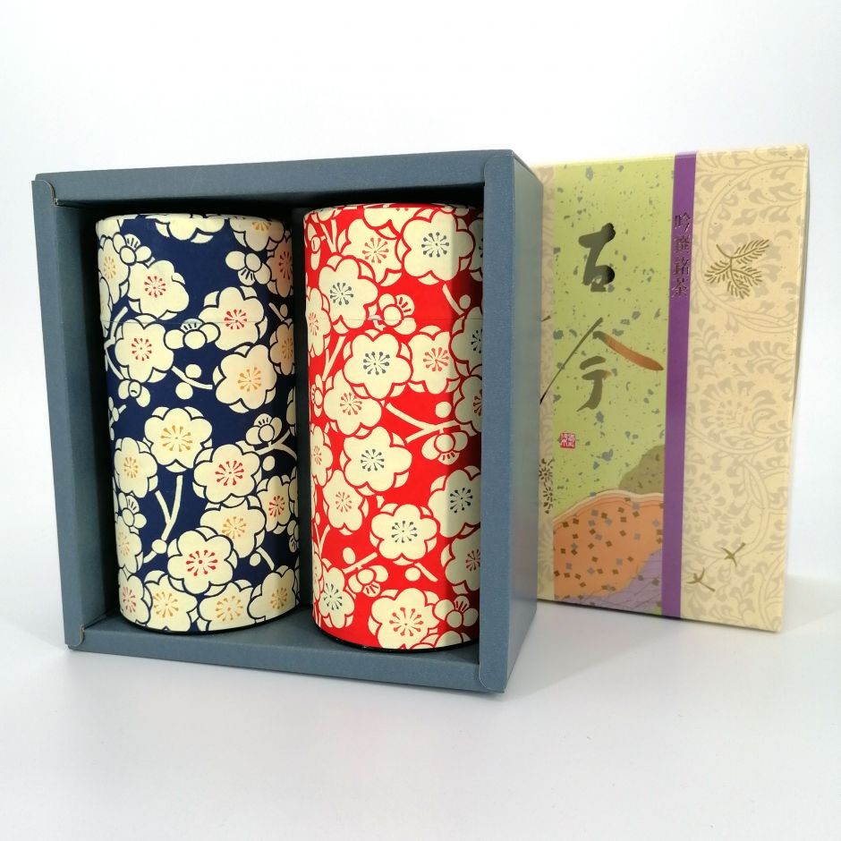 Duo of tea boxes covered with paper, UMEROMAN, red and blue