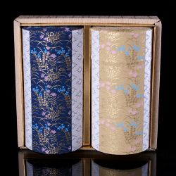 Duo of blue and yellow Japanese tea boxes covered with washi paper, HANAGOYOMI, 200 g