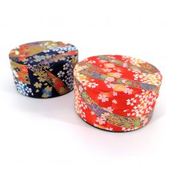 Japanese flat blue or red tea caddy in washi paper, YUZEN RIBON, 40 g