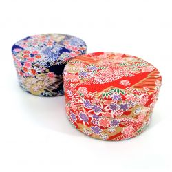 Japanese tea box made of washi paper, LOSANGES, red or blue