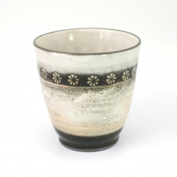 Japanese white ceramic teacup MISHIMA black flowers