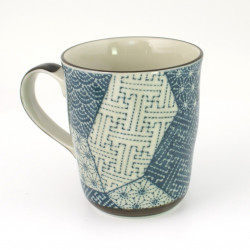 Japanese teacup with handle ceramic, PATCHWORK, blue