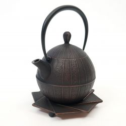 Japanese copper-colored cast iron teapot from Japan, ITCHU-DO KOTO + trivet