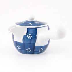 Japanese ceramic teapot, UME, blue and white