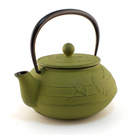 japanese Cast Iron Teapots IWACHU, gingko, Light green, 0.55 lt