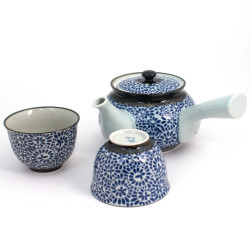 Japanese ceramic tea service, TAKO-KARAKUSA, blue