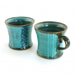 duo of Japanese turquoise mug 16M3378