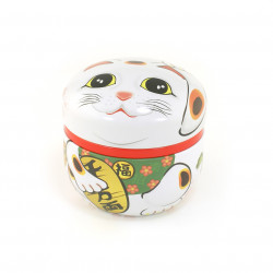 Japanese tea box made of washi paper, MANEKINEKO, White