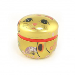 Japanese tea box made of washi paper, MANEKINEKO, golden