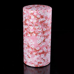 Japanese tea box made of washi paper, FLEURS, pink