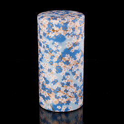 Japanese tea box made of washi paper, FLEURS, blue