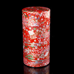 Japanese tea box made of washi paper, EVENTAILS, red