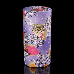 Japanese tea box made of washi paper, PETALES, purple