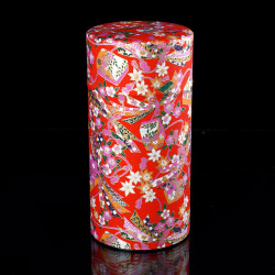 Japanese tea box made of washi paper, NOEUDS, red