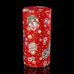 Japanese tea box made of washi paper, TEMARI, red