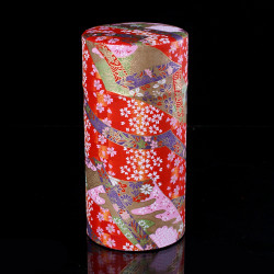 Japanese tea box made of washi paper, KAWA, red